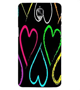 ColourCraft Love Hearts Design Back Case Cover for OnePlus Three