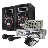 E-Star Set DJ 1000W casse, amplificatore, mixer, cuffie, microfono