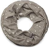 styleBREAKER Loop Schal mit Metallic Sterne All Over Print, Schlauchschal, Tuch, Damen 01017071, Farbe:Grau