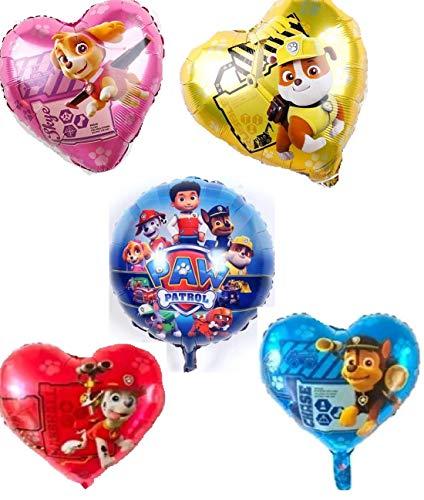 Folienballon Luftballon - Paw Patrol Hund - Kindergeburtstag Deko Dekoration(Set mit 5 Ballons) ()