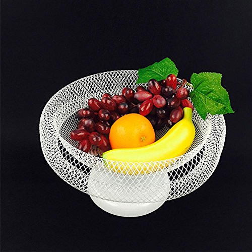 CanKun Wire Fruit Basket Bowl with Round Base Home Ornaments White , 30cm*19cm - Tiered Base