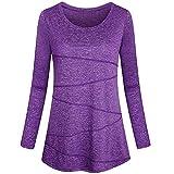 Damen Bluse Lässige Solide Sweatshirt Täglich Innen Yoga Shirt Herbst Rundhals Langarm T-Shirts(Lila,EU-40/CN-XL)