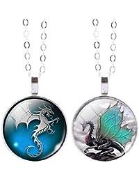 Jiayiqi Femmes Magic Dragon Grand Étoiles Crescent Temps Gemme Dangle Pendentif Chaîne Argentée