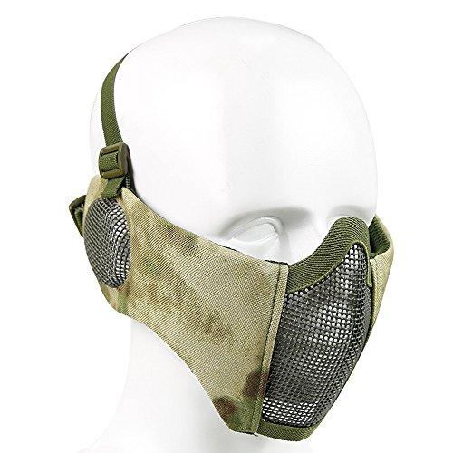 XUE Airsoft Faltbare Halbe Maske Mesh Gesichtsmaske Mundschutz mit Gehörschutz Taktische Paintball Schutz Masken Camo für Softair Jagd Halloween (10 Farbe)