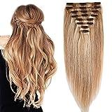 Clip in Extensions Echthaar Remy Haarverlängerung für komplette Haare 8 Tressen Doppelt Dicke 40cm-130g(#18/613 Hellgoldblond/Hell-Lichtblond)