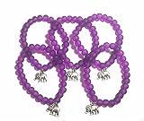 FizzyButton Geschenke Set von 5violett Gummizug Perlen Elefant Armbänder