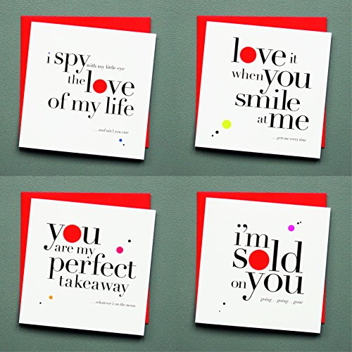 (12Stück Grüße Jahrestag Valentinstag Love sortiert blanko auf der Innenseite Note Karten–Grußkarte Bulk Box Set–12leuchtende Verkauft auf sie Aufstellkarten mit Poppy rot Umschläge enthalten 150mm x 150mm)