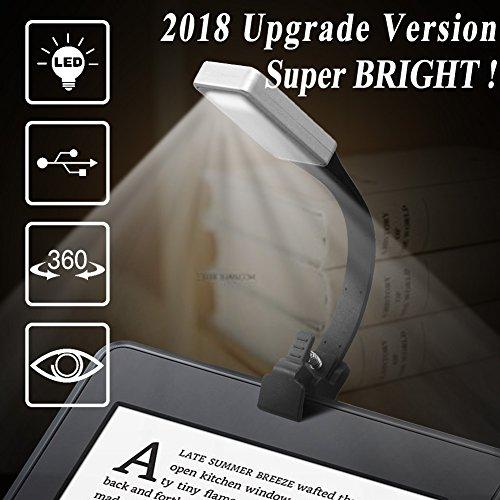 Leselampe, TOODA Buchlampen, Leselicht, 50 Lumen, wiederaufladbare LED Leselampe mit Clip und 3-Stufen-Helligkeit, tragbar und flexibel für eBook Reader/Bücher/etc.