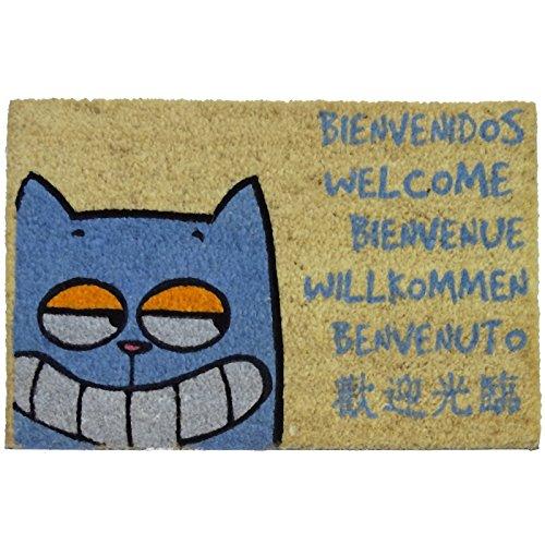 Felpudos Gatos Diseño Gato Bienvenido, PVC, Coco, 60 x 40 cm