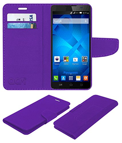 Acm Mobile Leather Flip Flap Wallet Case for Panasonic P81 Mobile Cover Purple