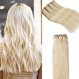 """Extension Cheveux Naturel Sans Clips Blond Tissage Meche Bresilienne Lisse #60 Blond Platine - Grade 7A Human Hair Extensions - 1 PCS (100g) - 22""""/55cm"""