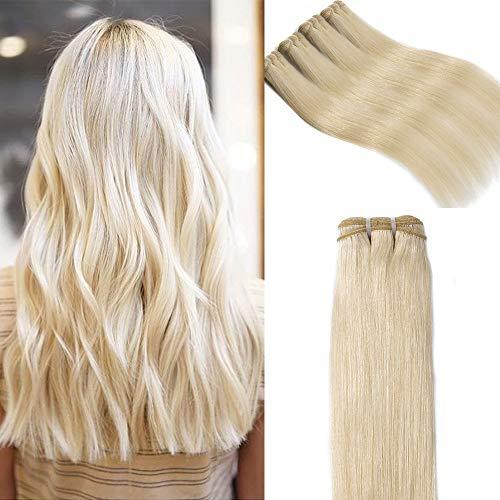 Extension capelli veri tessitura lisci biondo matassa grado 7a - 100% remy virgin human hair naturali umani brasiliani, 60# biondo platino 60cm 100g