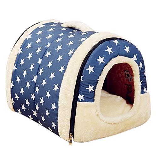 Fengzhe 2 in 1 Haustier-Haus, Haustiernest, Warm Isolierte Padded Cozy Cave Bed Haus Hund Katze Kätzchen, 7 Größen,B,L -