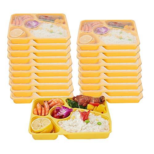 BUY-TO 120 Stücke Kunststoff Bento Box Mahlzeit Lagerung Lebensmittel Prep Lunchbox 5 Fach Wiederverwendbare Mikrowellenverpackungen Zuhause Lunchbox,Yellow,60PCS (Lebensmittel-lagerung-container Gefrierschrank)