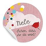 3x24 personalisierte MATTE Etiketten für Kinder, fröhliches Konfetti Design, ROSA, für Mädchen, zur Geburt, Taufe, Geburtstag, Kommunion mit Wolke, individualisierbar, rund, 4 cm Durchmesser