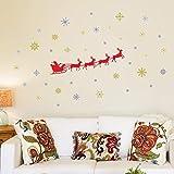 Wallflexi Decorazioni di Natale Adesivi da Parete Adesivi murali Slitta di Babbo Natale, per Salotto Bambini Scuola Materna Ristorante Hotel casa