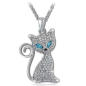 """Pauline & Morgen """"Katze Molly"""" Kette Damen Blau Kristall Halskette mit Anhänger Schmuck Geburtstagsgeschenk Weihnachtsgeschenke Muttertag Valentinstag geschenke für frauen zum geburtstag freundin"""