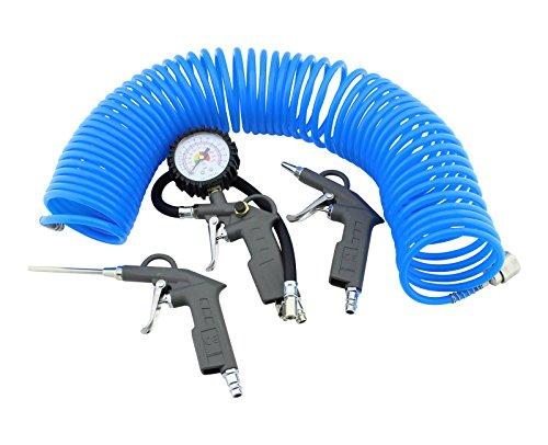 4-teilig Druckluft Zubehör Set Reifendruck Ausblaspistole Kompressor Schlauch