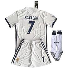 Real Madrid camiseta de fútbol Ronaldo # 7Set (camisa + pantalones + calcetines) niños/jóvenes 11–13años