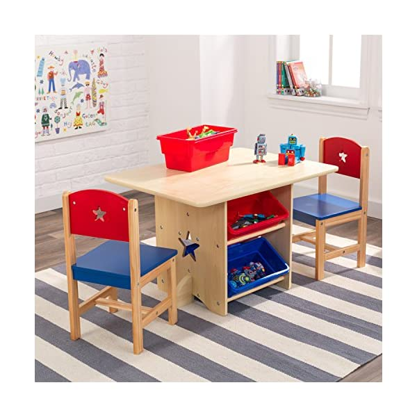 KidKraft 26912 Star Wooden Table & 2 Chair Set with storage bins, kids children's playroom / bedroom furniture - Red & Blue KidKraft Four convenient storage bins Bins can be reached from either side of table Star-shaped holes on table and chairs 6