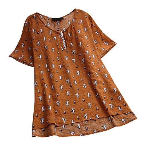 DressLksnf Camiseta Talla Grande Moda para Mujer Tops de Lino Estampado Lunares Camisa Cómodo Camisero Color Puro Cuello Redondo Top Básico Suelto con Volante Blusa Elegante (Naranja, XXXXXL)