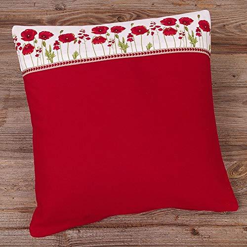 Matches21 - Funda de cojín, diseño de Flores y Amapolas, 40 x 40 cm, Color Rojo
