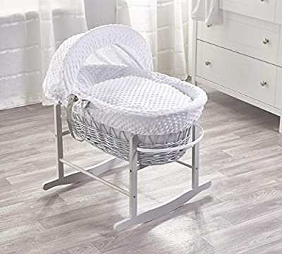 White Dimple Grey Wicker Padded Moses Basket & Deluxe Grey Rocking Stand