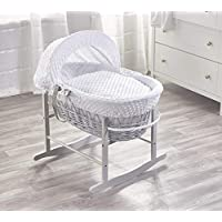 White Dimple Grey Wicker Padded Moses Basket & Grey Rocking Stand