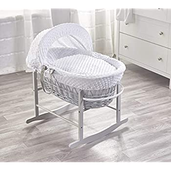 Sleepy Little Owl On GreyWicker Moses Basket on Deluxe Dove Grey Rocking Stand