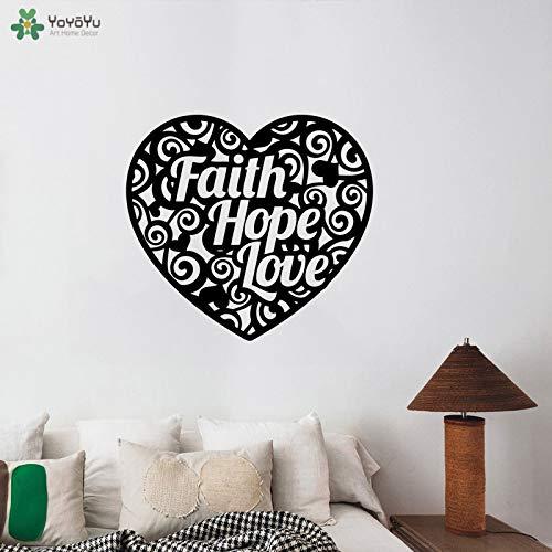 Wandtattoo Religiöse Zitate Glaube Hoffnung Liebe Vinyl Wandaufkleber Kreative Herz Muster Poster Wohnzimmer Dekor Wandbild 62x57 cm