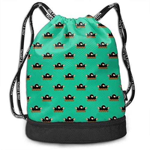 NasNew Cute Mole Day Pattern Multipurpose Drawstring Backpack Bag Bundle Pocket Daypack Gym Bag for Gym Travel