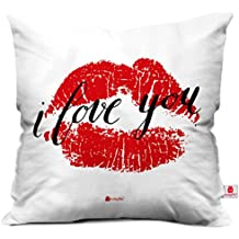 Valentine Gifts for Boyfriend Girlfriend Love Printed Cushion 12X12 Filled Pillow White I Love You Love Bite Gift for Him Her Fiance Spouse Lover Sweetheart Birthday Anniversary Everyday Gift