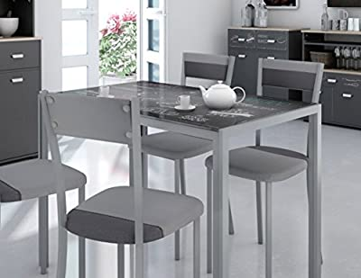 Mesa de cocina en cristal templado base metalica. 105x60cm
