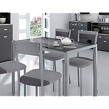 mesa de cocina en cristal templado base metalica xcm