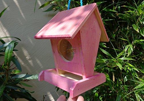 Futterhaus BTV-VOFU1K-pink001 PREMIUM Vogelhaus Futterstation rot pink rosa Schaukasten, als Ergänzung zum Meisen Nistkasten Meisenkasten oder zum Insektenhotel, für Vögel, Vogelhäuschen / Vogelvilla zum Hängen und Aufstellen von BTV