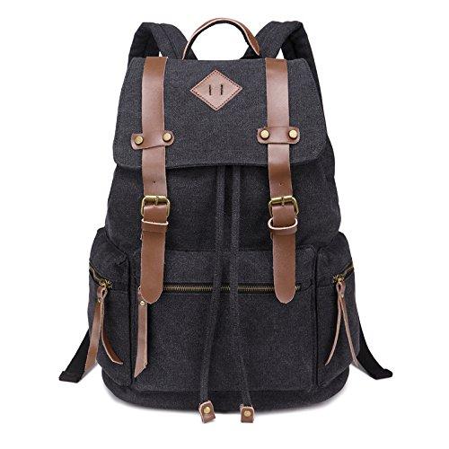 BeautyWill Unisexe sac à dos en toile et cuir sac a dos vintage sac de voyage randonnée