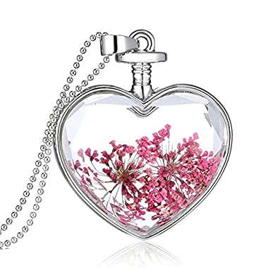 Rosimall Queen Anne's Lace Forget Me Not Real Dry Flower Heart Glass Bottle Pendant Necklace Gift