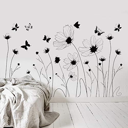 Xlei adesivi murali pvc nero e bianco farfalla stickers murali adesivi murali decorazioni per la casa adesivi per soggiorno muraux62x85cm