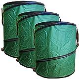 3x Gartenabfalltonne Pop Up faltbarer Gartensack Set 160 Liter Laubsack aus stabilen Oxford Nylon bis 50 Kilo