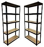 2étagères à 5niveaux, noires de 180cm x 90cm x 30cm (175kg par étagère), capacité de 875kg