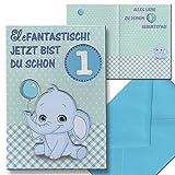 Kinderkarte Geburtstagskarte 1. Geburtstag Junge Kindergeburtstag Aufklappkarte Briefumschlag