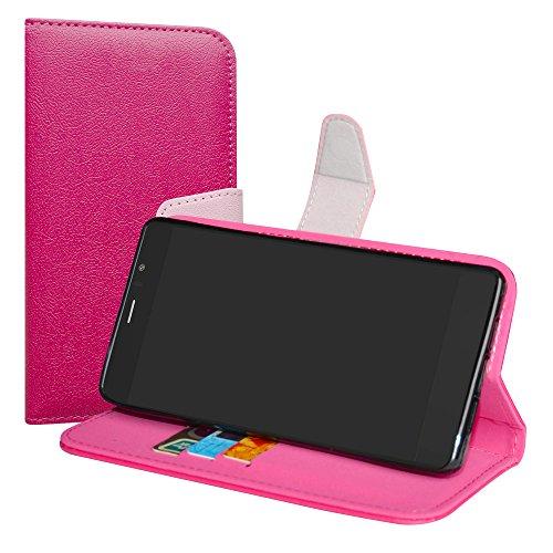 LiuShan Archos Diamond 55 Selfie/Lite Hülle, Brieftasche Handyhülle Schutzhülle PU Leder mit Kartenfächer und Standfunktion für Archos Diamond 55 Selfie/Diamond 55 Selfie Lite Smartphone,Pink