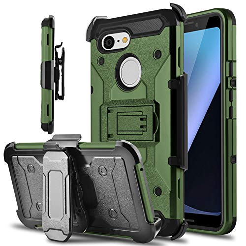 Google Pixel 3 Hülle, Tevero Kickstand [Heavy Duty Protection] Swivel Belt Clip Full Body Armor Protective Shock Proof Phone Case Cover for Google Pixel 3, Natur (3 Halloween Film Clips)