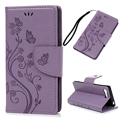 MAXFE.CO Sony Xperia X Compact Flip Folio Cover Butterflies Around Vines Embossed 4.6 Inch PU Leather Holster Case With Magnet Closure Cash Slot Card Holder Hand Strap For Sony Xperia X Compact - Purple Test