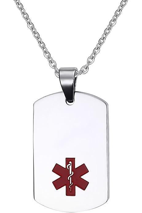 Pendientes En Forma De Identificación De Alerta Médica De Acero Inoxidable De La Plata del Estilo del Ejército Collar: Amazon.es: Joyería