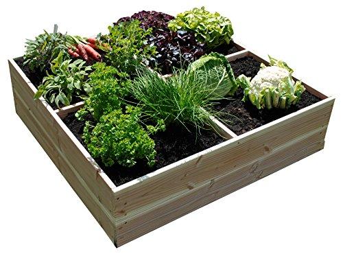 Vert Jardin de plate-bande surélevée MD kvva 5mh5, naturel, 100 x 100 x 28 cm, ggkb4t