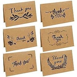 Tarjeta de Agradecimiento - pack de 36 - Sobres Papel Kraft Retro con 6 Diseños para Boda