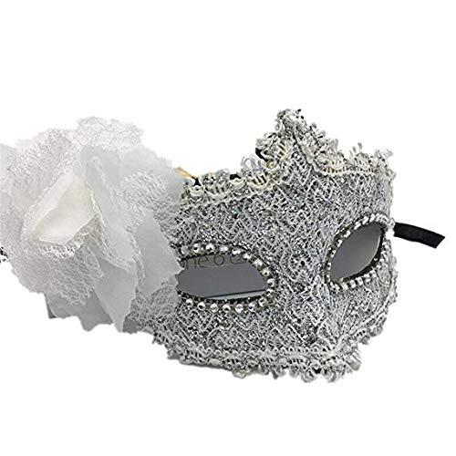 Gesichtsmaske Schild Schleier Wache Bildschirm Domino falsche Front Halloween Tanz Prinzessin Maske weibliche Spitze Partei Spaß halbe Gesichtsmaske weiß,Silver