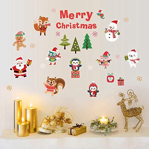 Weihnachten Wandaufkleber,Xmas Tree Santa Claus Cartoon Tiere Muster Abnehmbare Neues Jahr Partei Wand Aufkleber Wasserdichte Fenster Shop Art Abziehbilder Für Kinderzimmer Home Wohnzimmer Schlafzi -