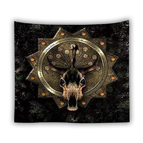 Divination Gobelin Wandbehang,Ziege Schädel,Böhmische Trippy Psychedelic Hippie Gothic Moderne Stoff Gedruckt,Große Mauer Kunst Dekor Für Wohnzimmer Schlafzimmer,230 × 150 cm -